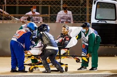 Grosjean tras el accidente