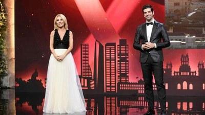 Cayetana Guillén-Cuervo y Miguel Ángel Muñoz, en la entrega de premios michelin 2021.
