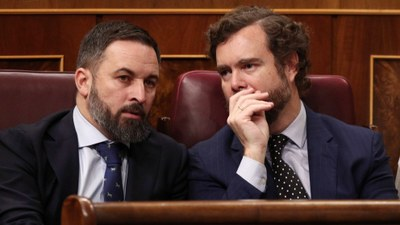 l presidente de vox santiago abascal y el portavoz del partido en el congreso de los diputados ivan espinosa de los monteros. foto ep