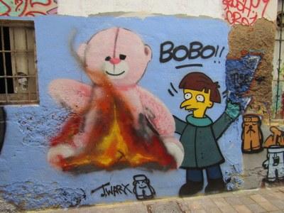 Dibujo del Sr. Burns (Los Simpsons) y Rosito (programa Isla de las tentaciones)
