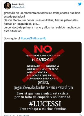 tweets en contra de #LucesNo
