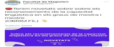 Tweet publicado por parte de Facultat de Magisteri en su cuenta oficial de Twitter que contiene la explicación de la resolución. TWITTER